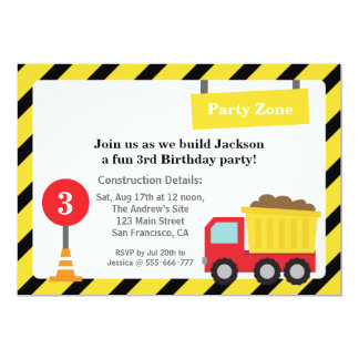 Dump Truck Construction Theme Birthday Party 5x7 Paper Invitation Card