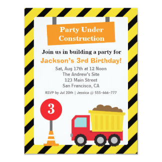 Dump Truck Construction Theme kids Birthday Party Card
