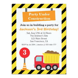 Dump Truck Construction Theme kids Birthday Party Card
