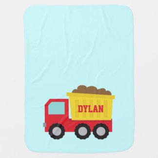 Dump Truck, Construction Vehicle for Baby Boy Receiving Blanket