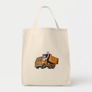 Dump Truck Driver Waving Cartoon Grocery Tote Bag