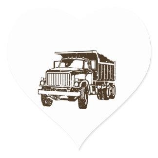 Dump Truck Heart Sticker