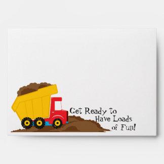Dump Truck Invitation Envelope