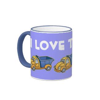 Dump Truck Kids Art Ringer Coffee Mug