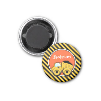 Dump Truck Magnet, Construction Party Favor 1 Inch Round Magnet