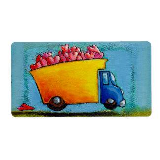 Dump truck of love hauling hearts fun unique art personalized shipping label