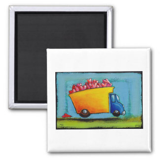 Dump Truck of Love unique fun happy whimsical art 2 Inch Square Magnet