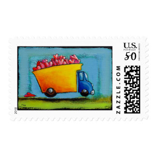 Dump Truck of Love unique fun happy whimsical art Postage