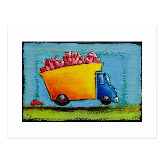Dump Truck of Love unique fun happy whimsical art Postcard