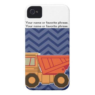 Dump Truck on zigzag chevron - Blue iPhone 4 Covers
