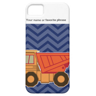 Dump Truck on zigzag chevron - Blue iPhone 5 Cover