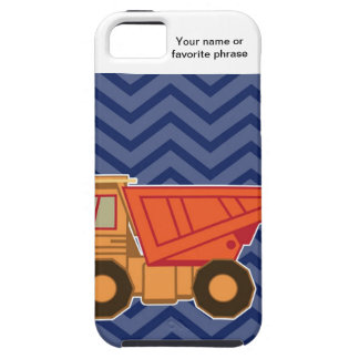 Dump Truck on zigzag chevron - Blue iPhone 5 Cases