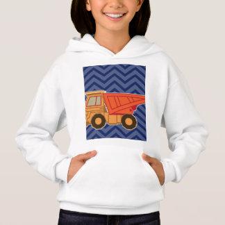 Dump Truck on zigzag chevron - Blue Hoodie