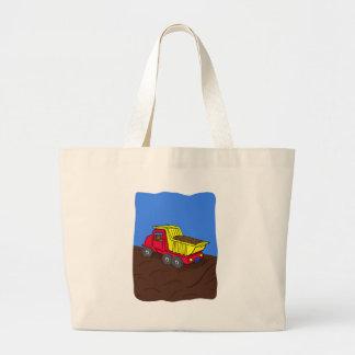 Dump Truck Red and Yellow Cartoon Art Tote Bag