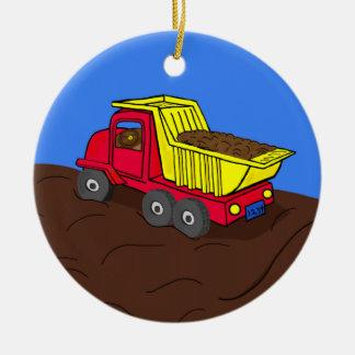 Dump Truck Red and Yellow Cartoon Art Ceramic Ornament