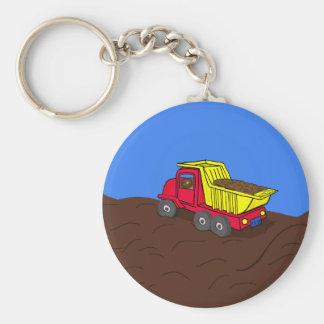 Dump Truck Red and Yellow Cartoon Art Keychain