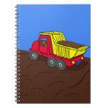 Dump Truck Red and Yellow Cartoon Art Note Books