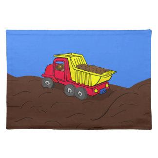 Dump Truck Red and Yellow Cartoon Art Place Mat