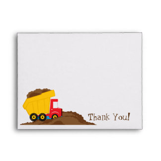 Dump Truck Thank You Card Envelope