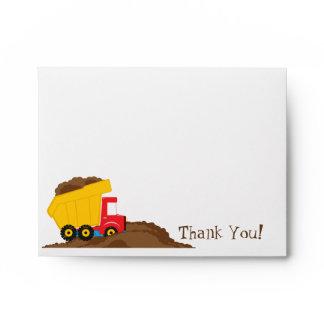 Dump Truck Thank You Card Envelope