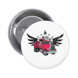 Dump Truck Wings Pinback Button