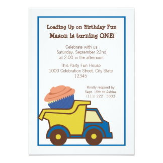 Dump Truck with Cupcake Blue Card
