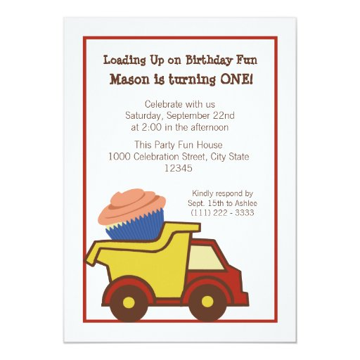 Dump Truck with Cupcake Red Announcement
