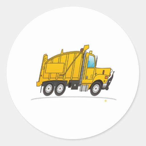 Dump Truck Yellow Round Sticker
