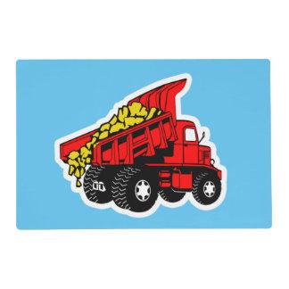 Dump trucks boys tablemat placemat