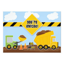"Dump Trucks Construction Birthday Flat Invitation 5"" X 7"" Invitation Card"