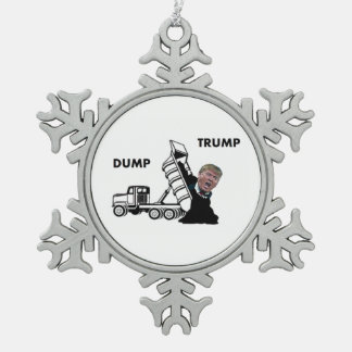 Dump Trump Snowflake Pewter Christmas Ornament