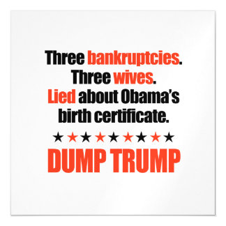 Dump Trump - Three Bankruptcies and Three Wives Magnetic Card