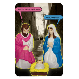 Dumpster Baby Jesus Christmas Magnet