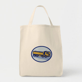 DumpTruck Oval Woodcut Grocery Tote Bag