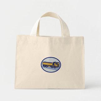 DumpTruck Oval Woodcut Mini Tote Bag