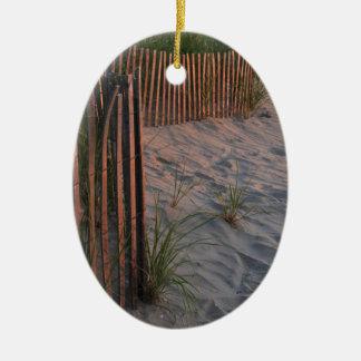 Duna de arena adorno navideño ovalado de cerámica