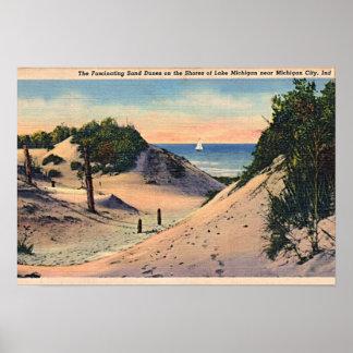 Dunas de arena de Indiana de la ciudad de Michigan Póster