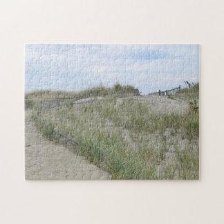 Dunas de arena en la playa de Nauset, Cape Cod Puzzle Con Fotos