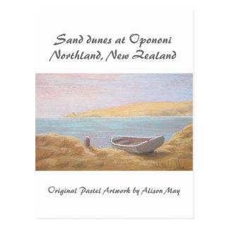 Dunas de arena en Opononi, tierra del norte, Nueva Postales