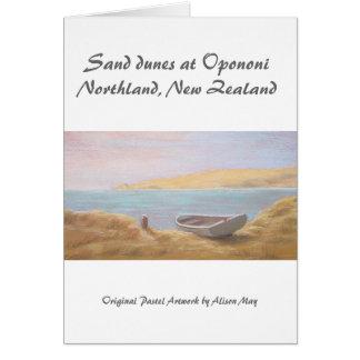 Dunas de arena en Opononi, tierra del norte, Nueva Tarjeta De Felicitación