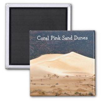 Dunas de arena rosadas coralinas imán cuadrado
