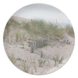 Dunas de arena y cerca de la playa plato de cena