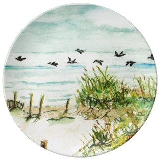 Dunas de arena y gaviotas Outer Banks Carolina del Plato De Cerámica