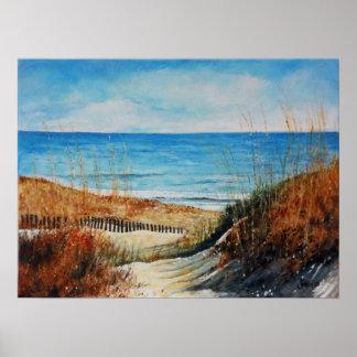 Dunas de arena y poster hermosos del océano