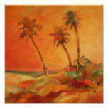 Dunas de la playa de la puesta del sol de la palme posters