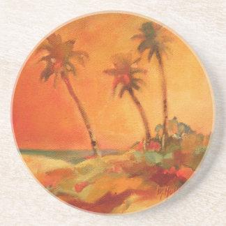 Dunas de la playa de la puesta del sol de la palme posavasos diseño