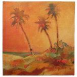 Dunas de la playa de la puesta del sol de la palme servilletas de papel