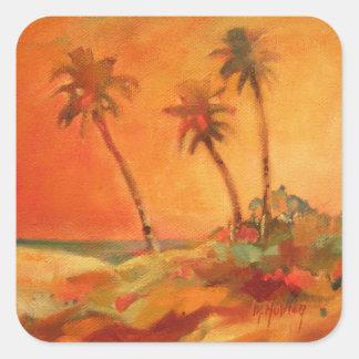 Dunas de la playa de la puesta del sol de la pegatina cuadrada