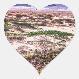 Dunas de la roca de Morro en la puesta del sol Pegatina Corazón Personalizadas