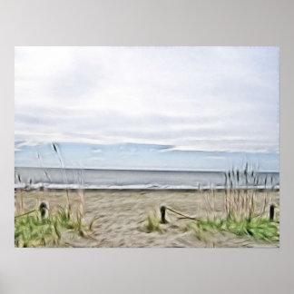 Dunas del mar a lo largo de la costa costa póster
